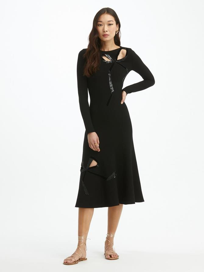 Laser Cut Bow Knit Dress