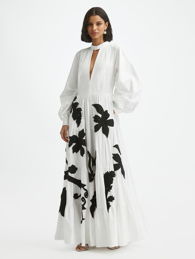 Leaf Appliqué Cotton Poplin  Dress