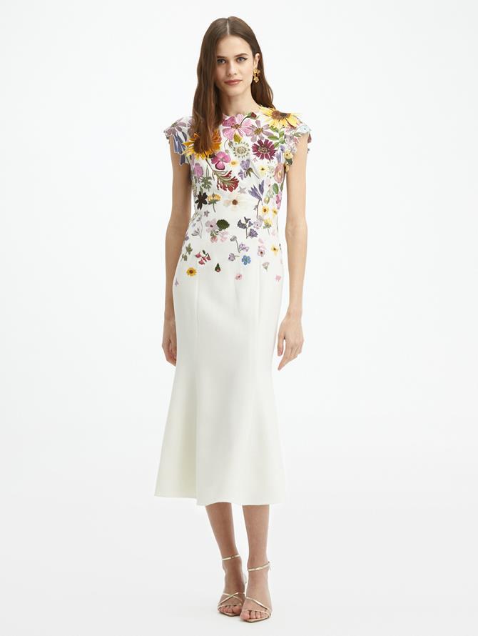 Pressed Flower Embroidered Trumpet Dress