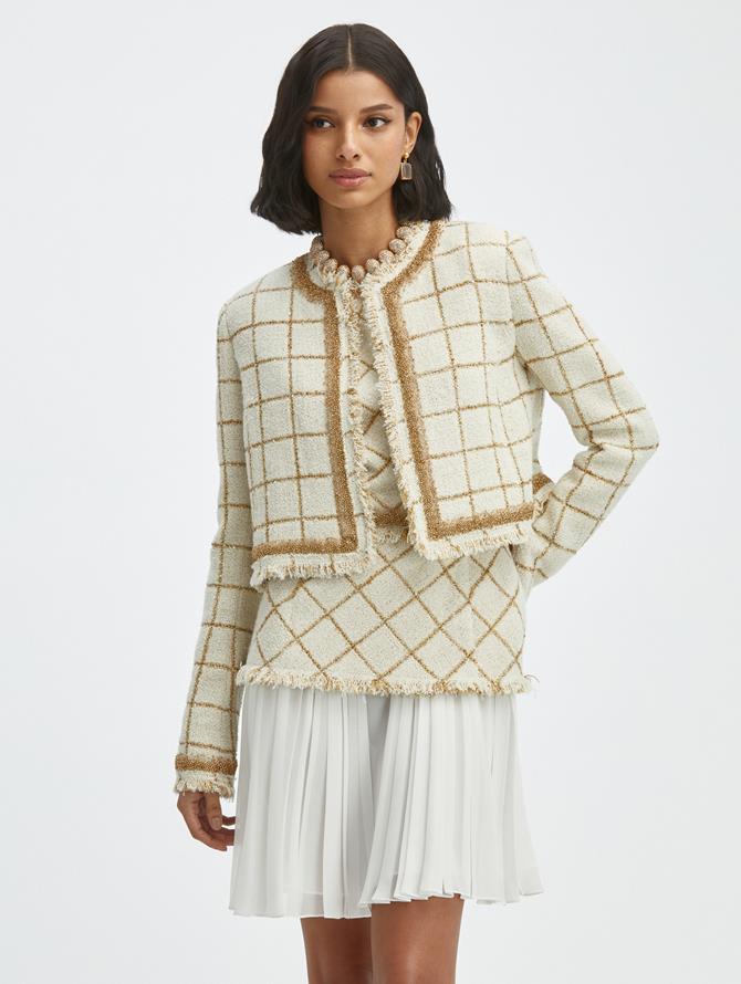 Lurex Tweed Windowpane Jacket