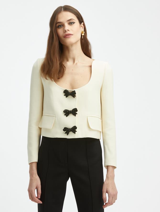 Crystal Bow Scoop Neck Jacket