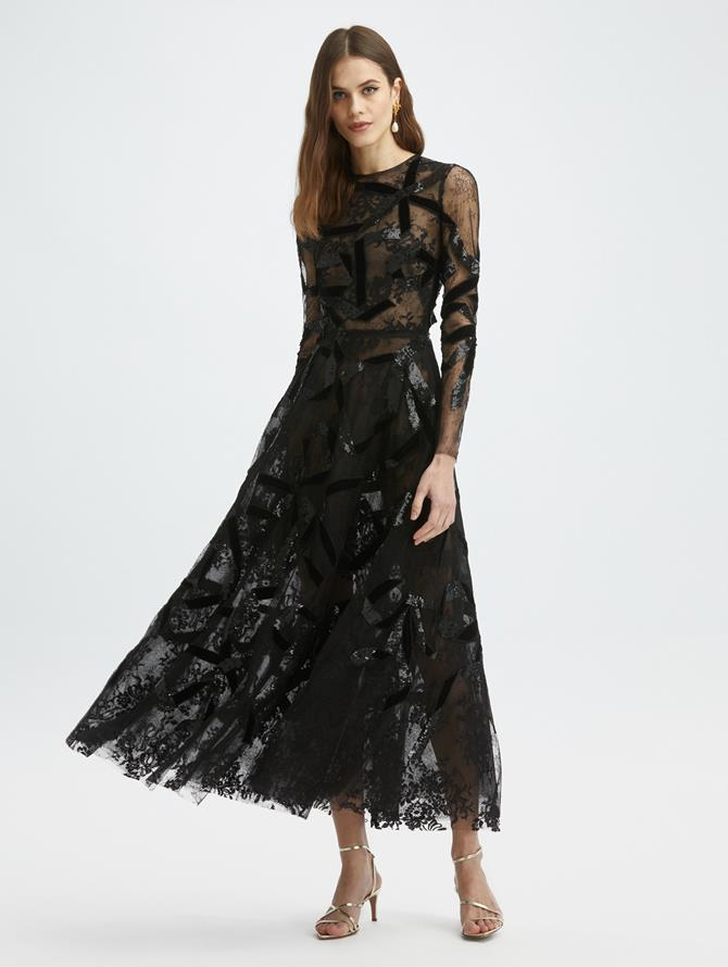 Bow Embroidered Lace Dress