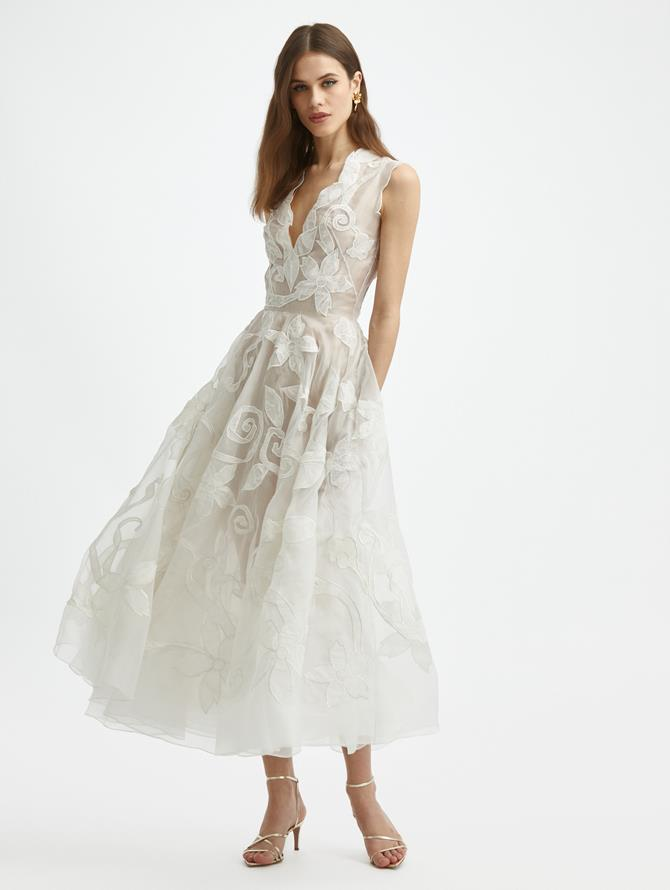 Crushed Flower Silk Dress