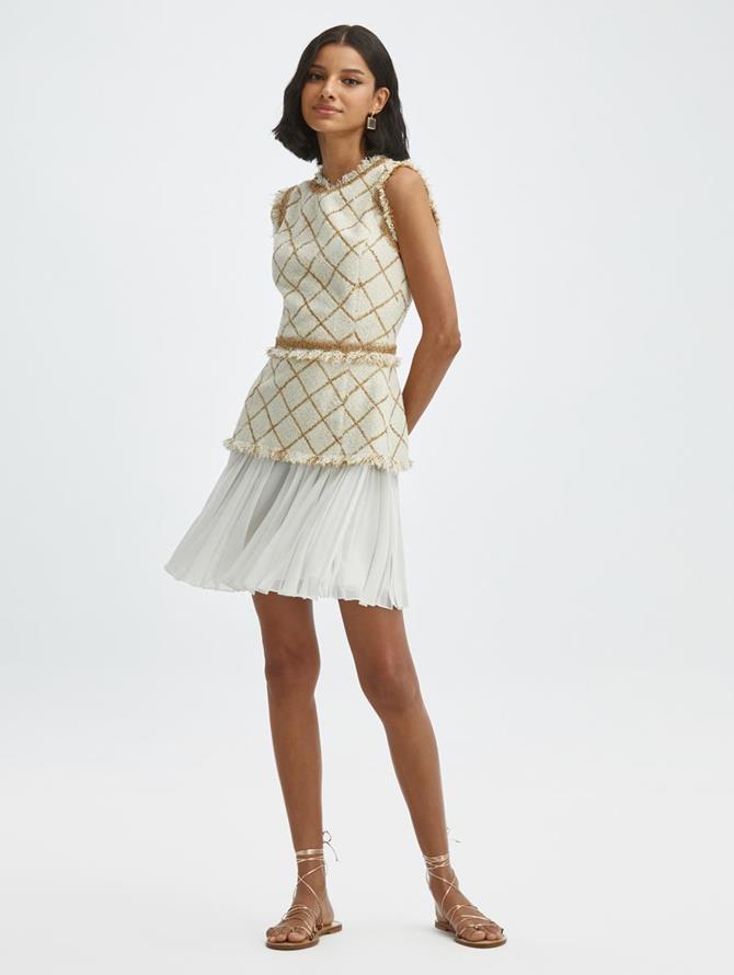 Lurex Tweed Chiffon Dress