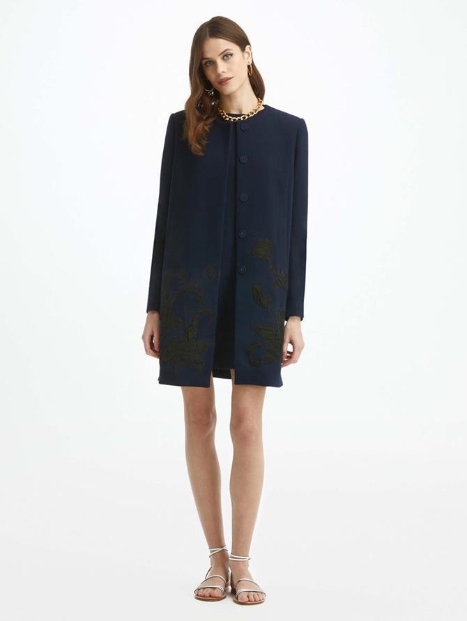 Duchess Crushed Flower Wool Crepe Coat