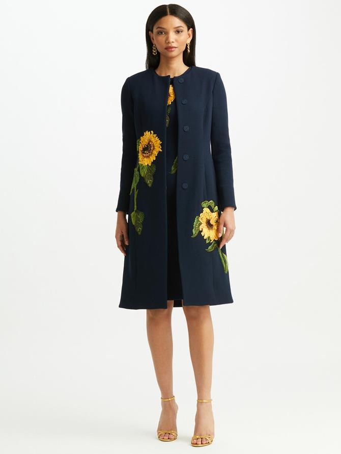 Sunflower Embroidered Wool Crepe Coat