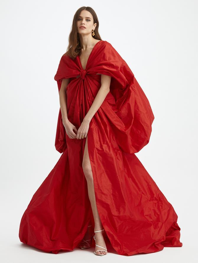 Silk Taffeta Puff Sleeve Gown