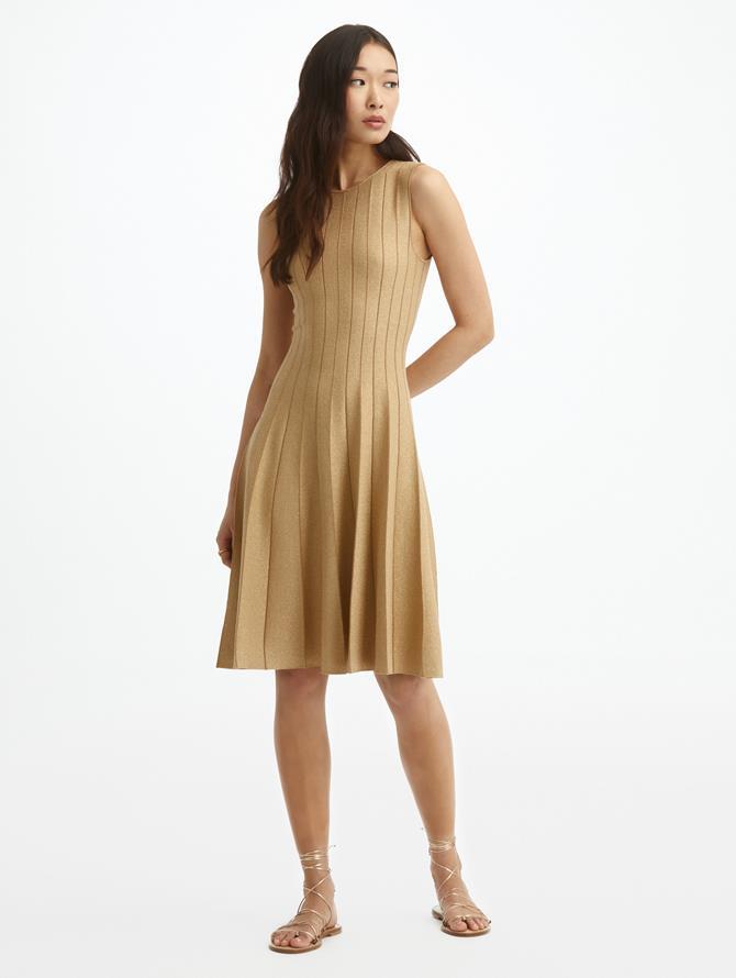 Pleated Lurex Knit Dress