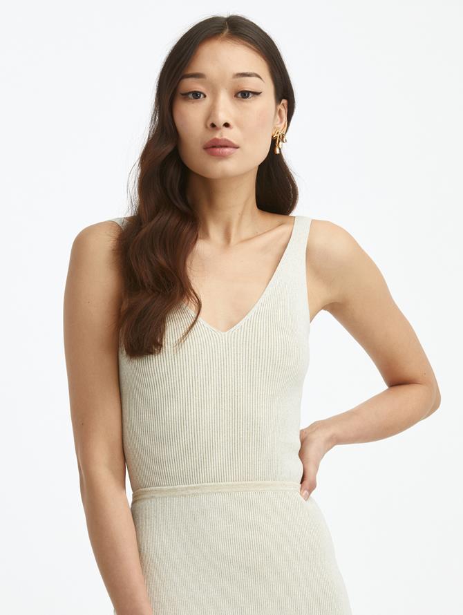 V-Neck Silk Lurex Knit Tank