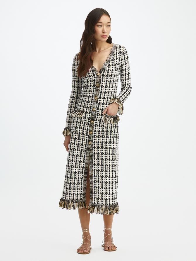 Tweed Knit Fringe Cardigan Dress