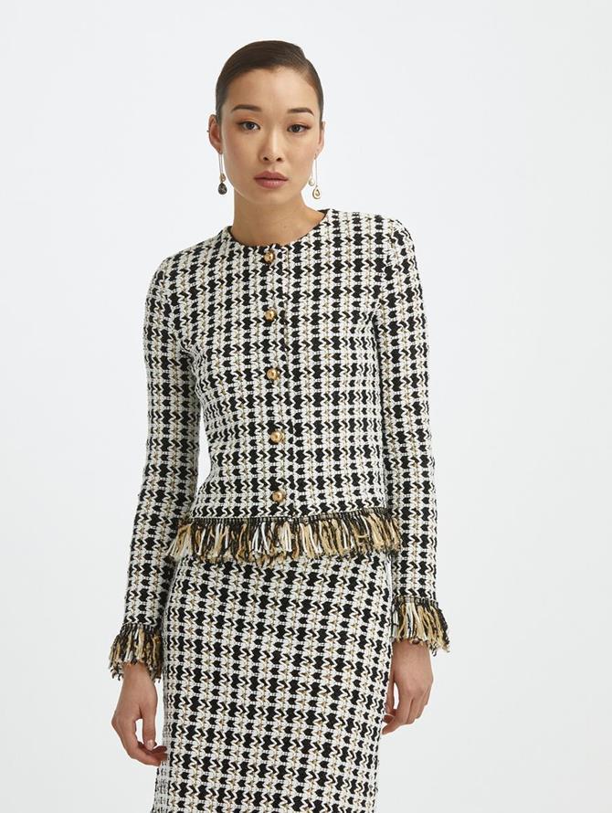 Tweed Knit Fringe Jacket