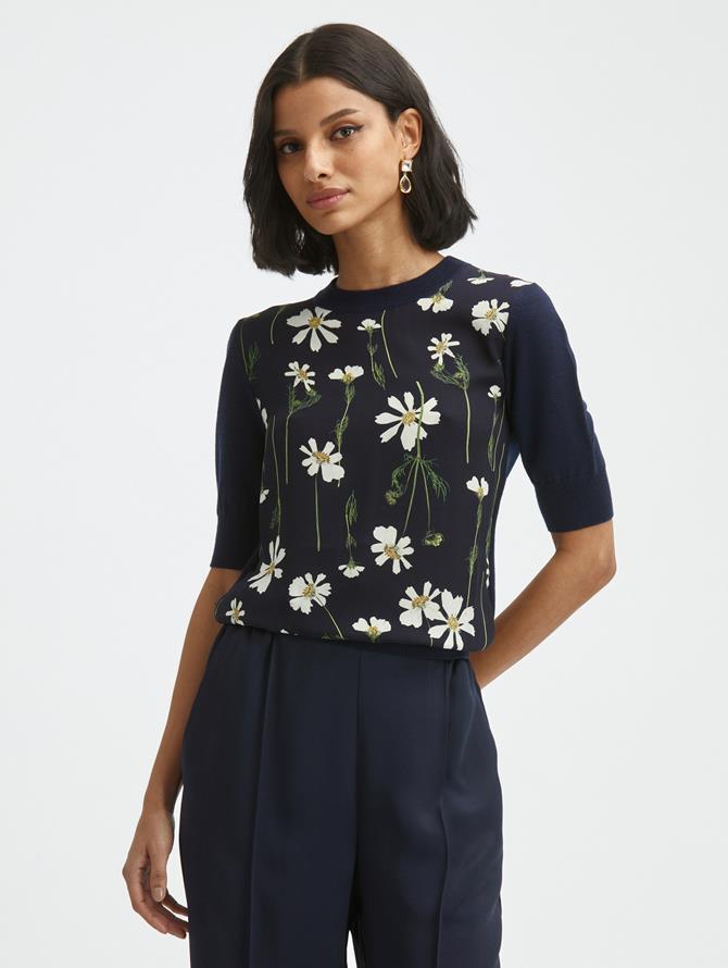 Cosmo Silk Insert Knit Pullover