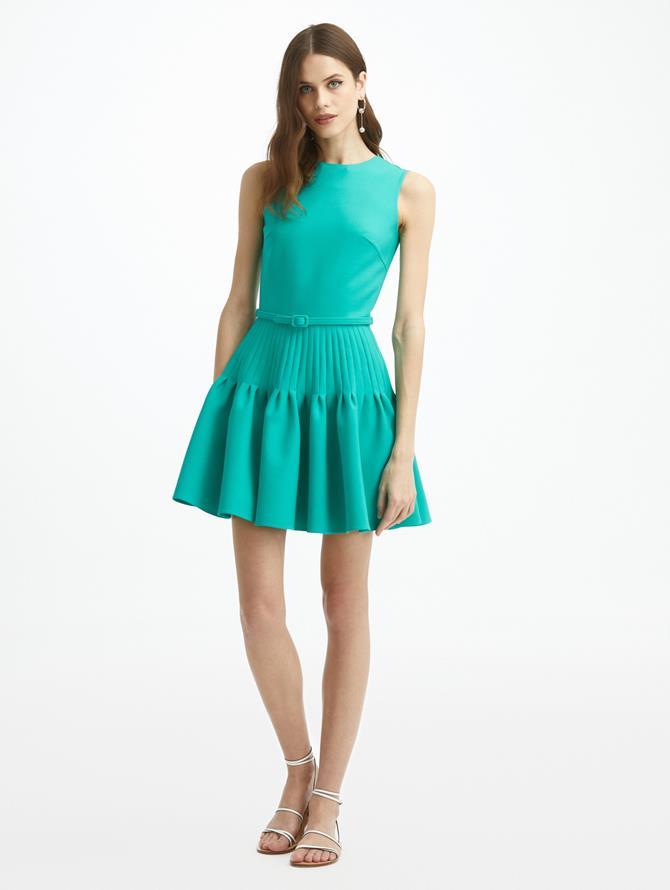 Sleeveless Pleated Skirt Mini Dress