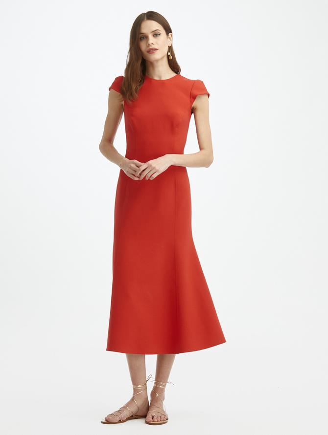 Cap Sleeve Midi Day Dress