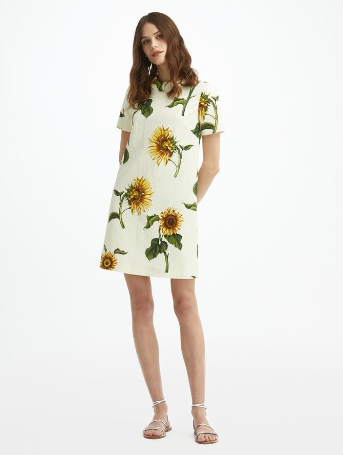 Sunflower Cloque Shift Dress