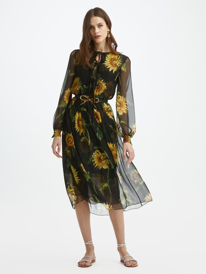 Silk-Chiffon Sunflower Dress
