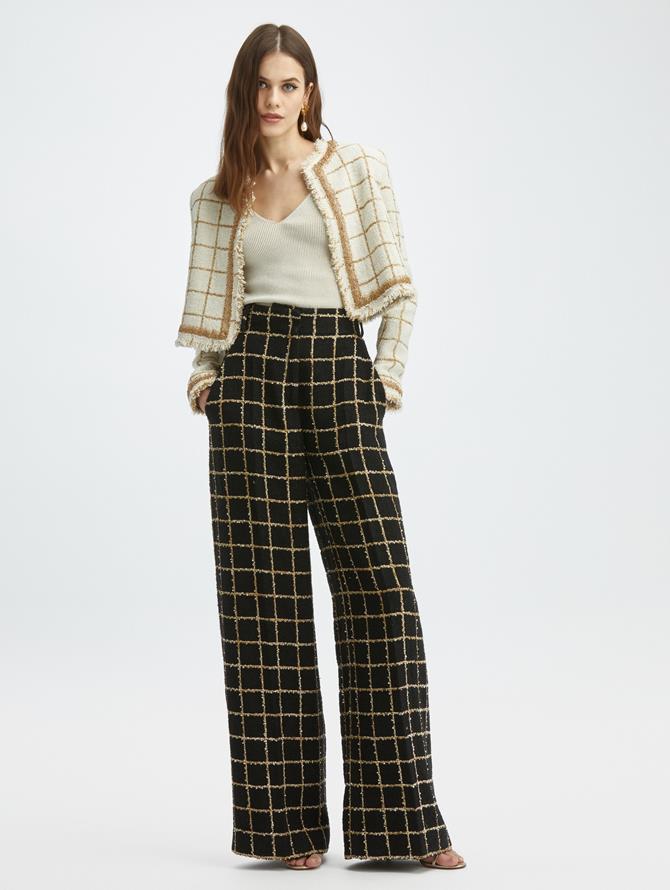 Lurex Tweed Wide Leg Pant