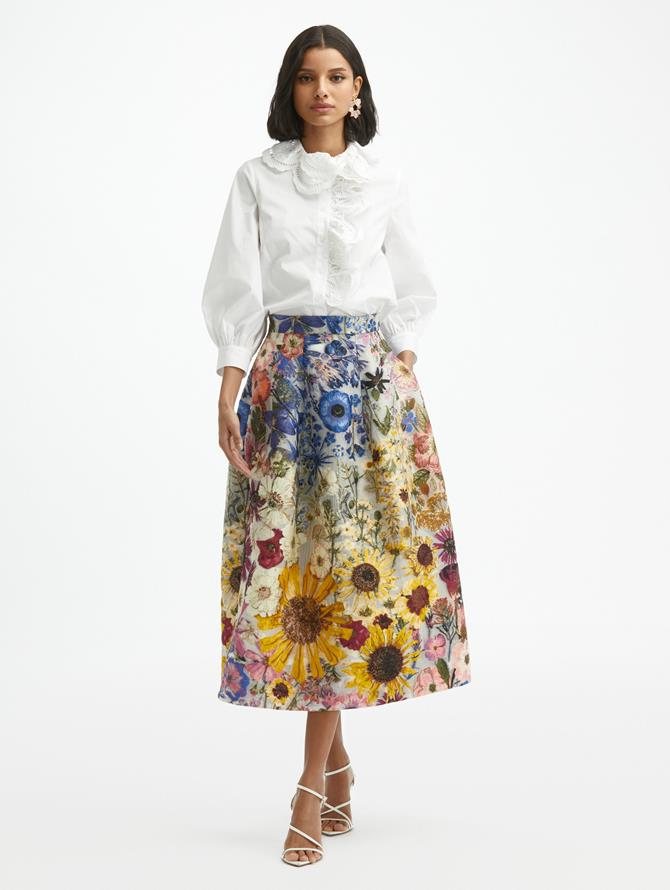 Pressed Flower Fil Coupé Skirt