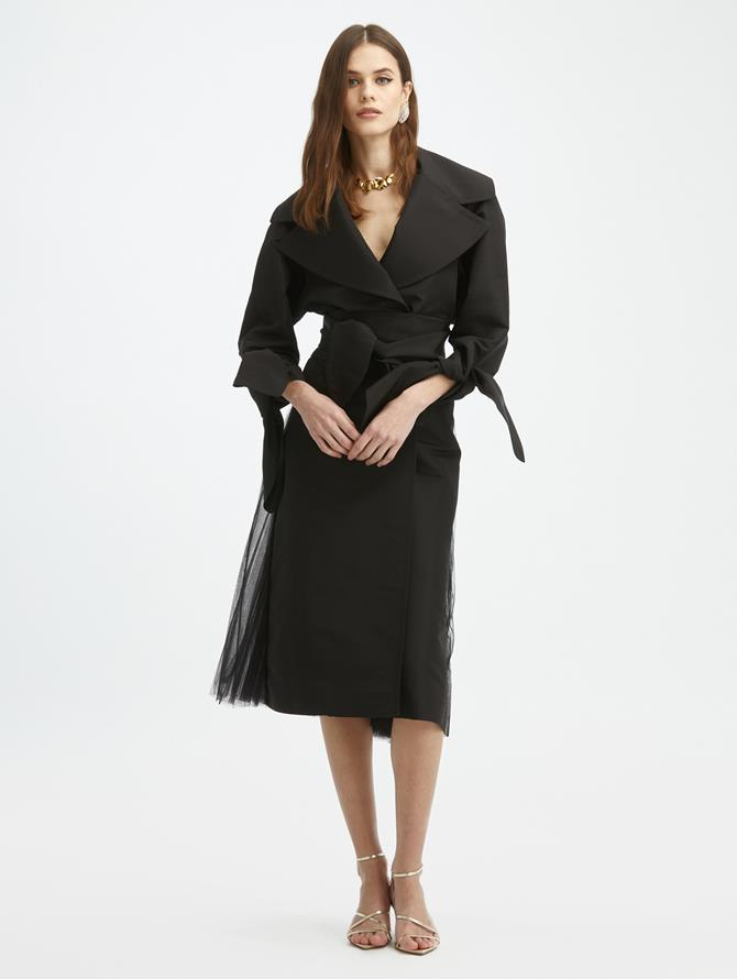 Pleated Tulle Trench Coat