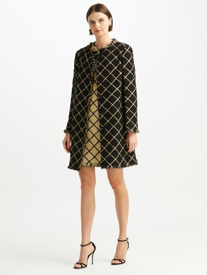 Lurex Tweed Straight Coat