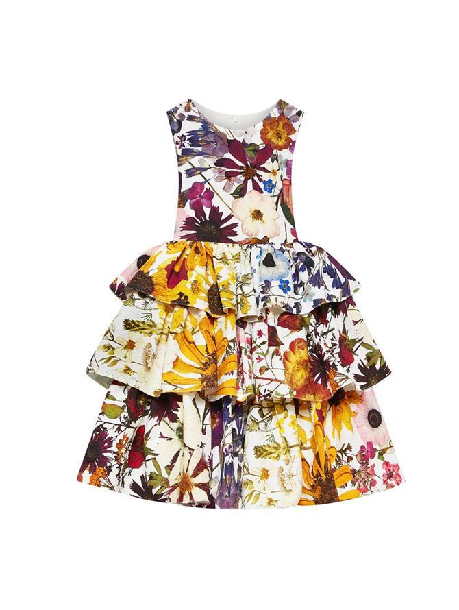 Tiered Cloque Pressed Flower Dress