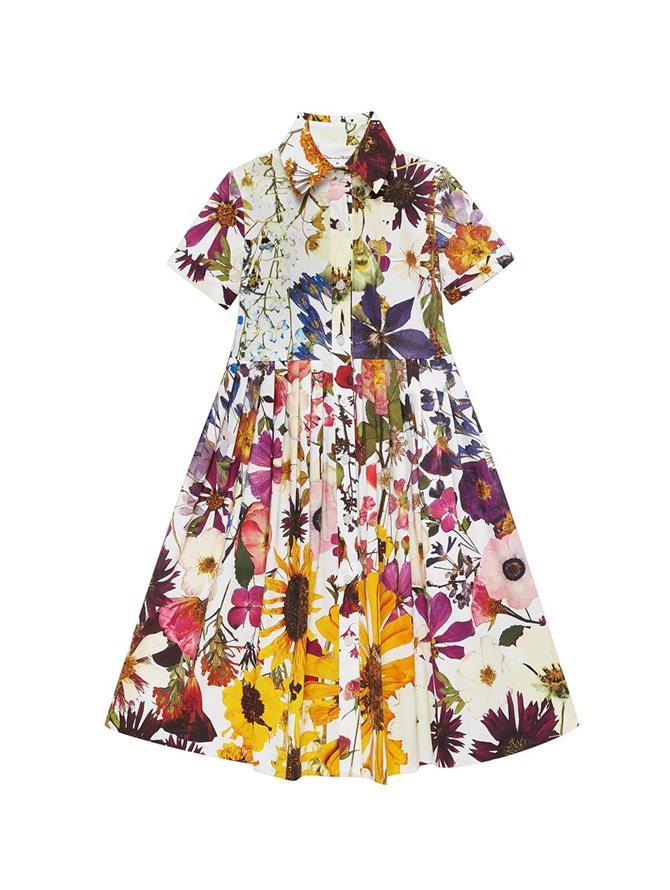 Pressed Flower Poplin Collared Dress