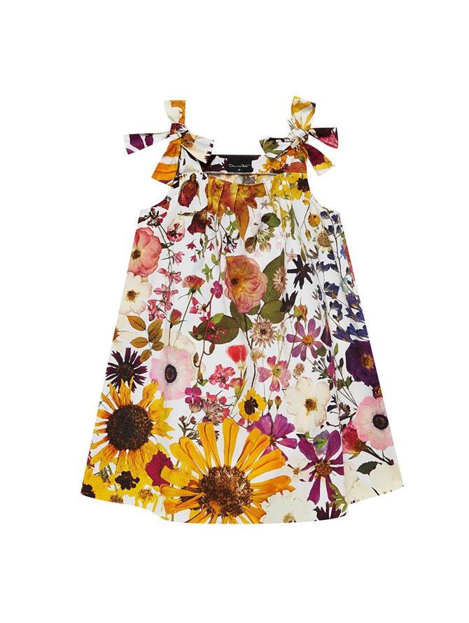 Pressed Flower Poplin Bow Strap Dress