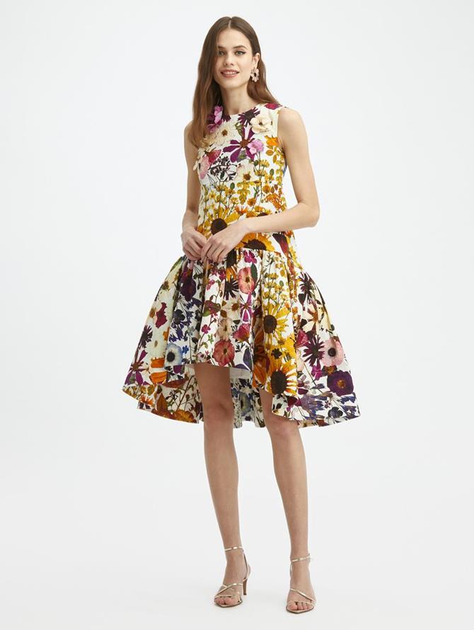 Pressed Flower Cloque Peplum Dress