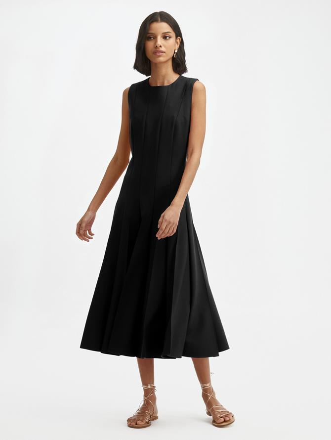 Pintuck Pleated Sleeveless Dress