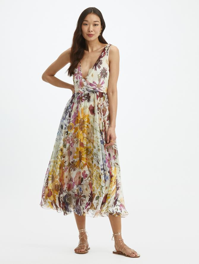 Pressed Flower V-Neck Chiffon Dress