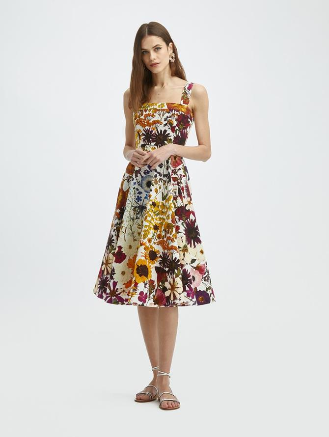 Pressed Flower Cloque Sleeveless Dress