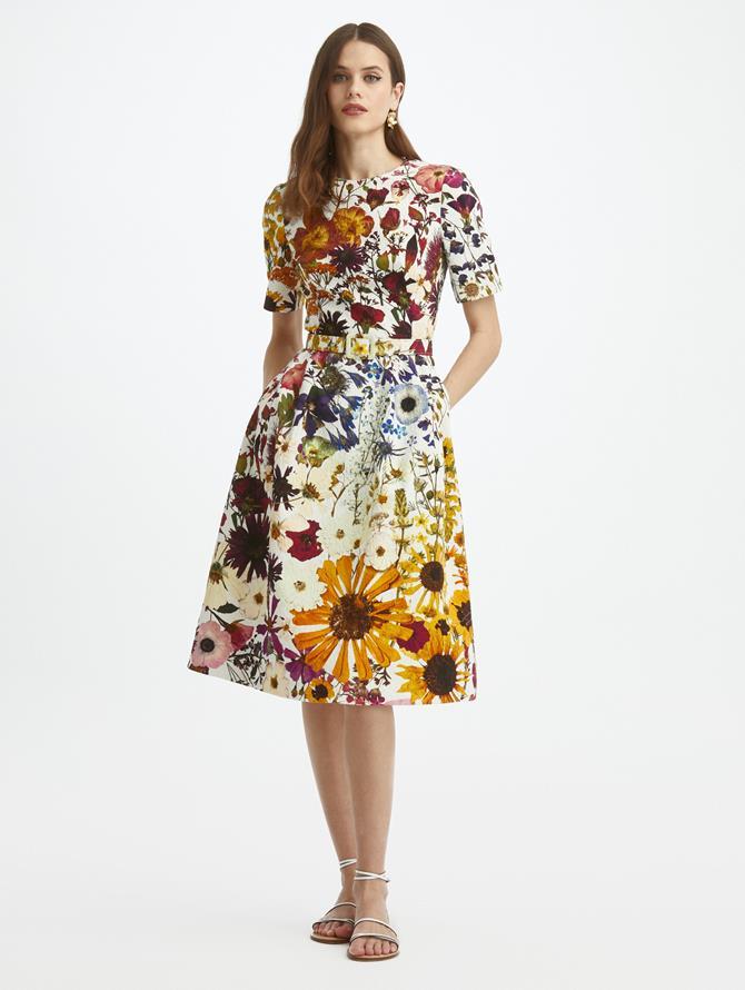 Pressed Flower Cloque Short Sleeve Dress