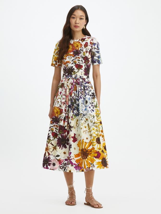 Pressed Flower Cotton Poplin Dress