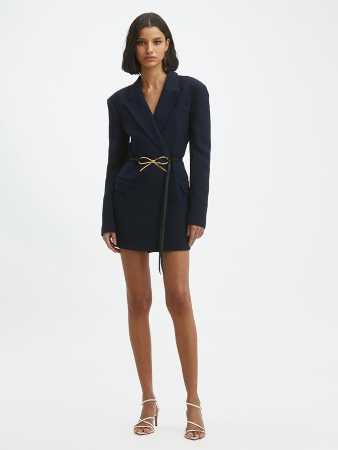 Bow Peak Lapel Jacket Mini Dress