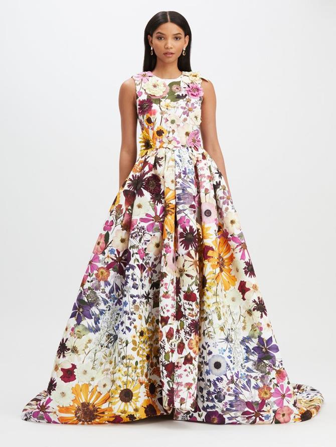 Pressed Flower Faille Full Skirt Gown