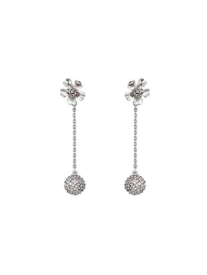 Pave Ball Flower Earrings