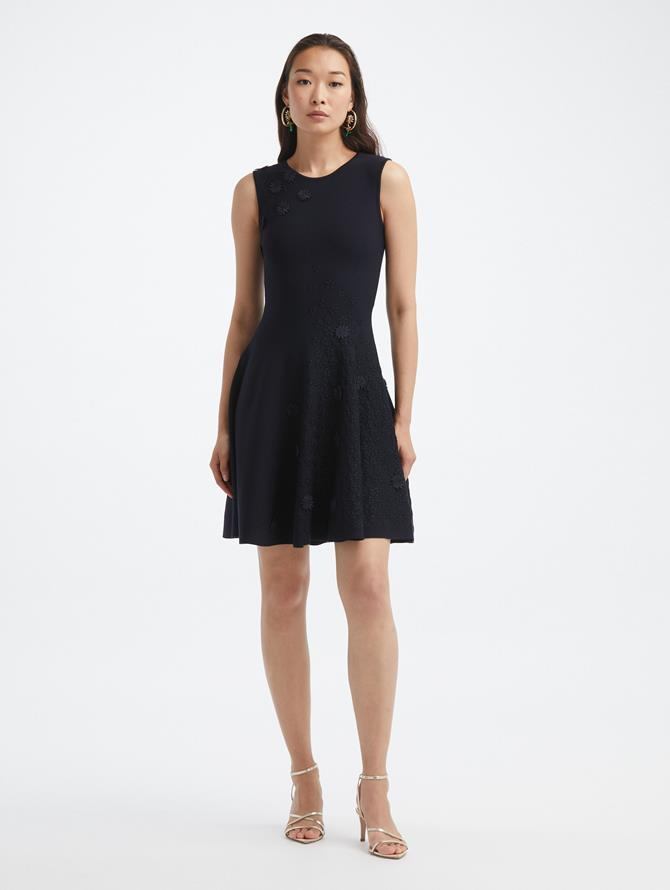 Textured Daisy Embroidered Knit Dress