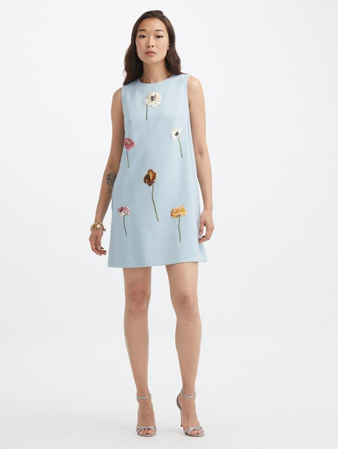 Floral Threadwork Embroidered Shift Dress