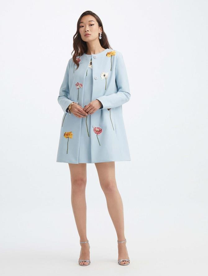 Floral Threadwork Embroidered Coat