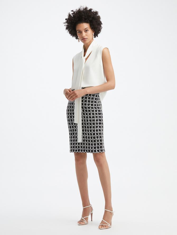 Sequin Grid Tweed Pencil Skirt