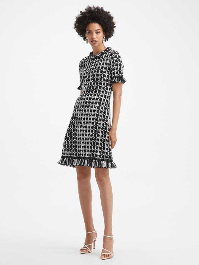 Sequin Grid Tweed Dress