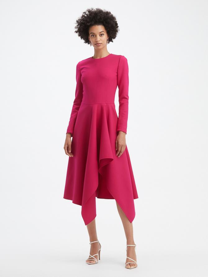 Drape Front Long Sleeve Dress