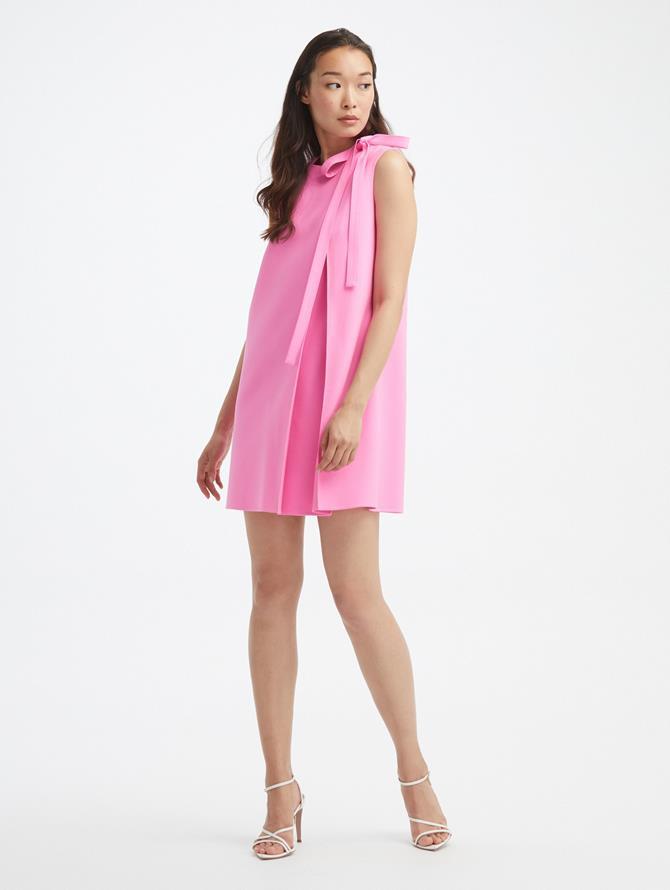 Pleated Shoulder Sleeveless Dress