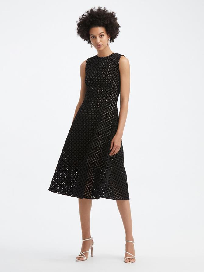 Velvet Eyelet A-Line Dress