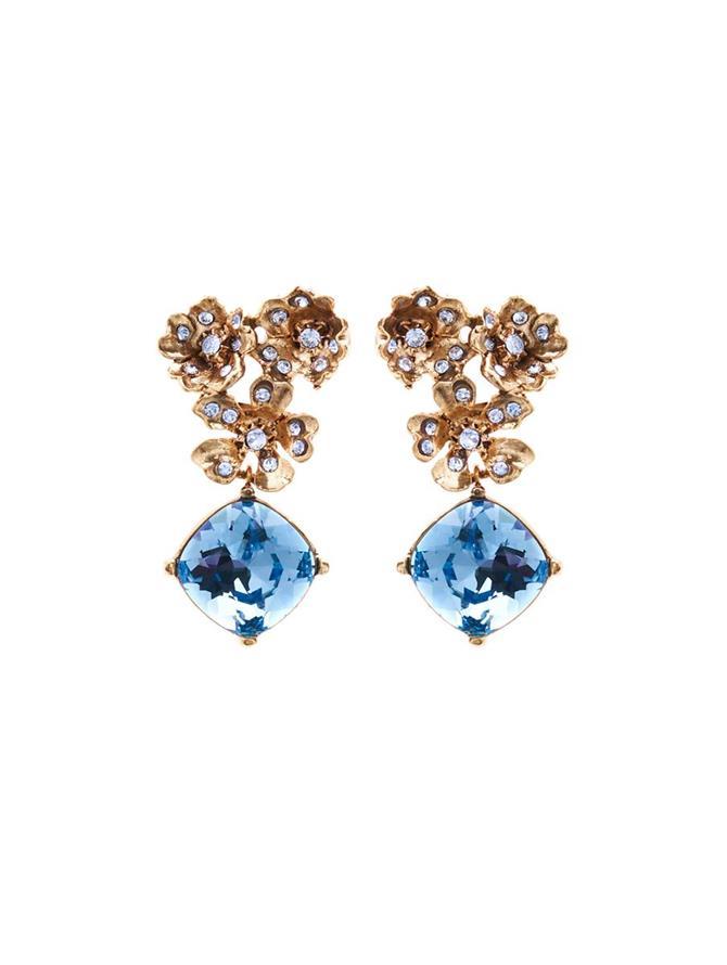 Floral Crystal Pendant Earrings