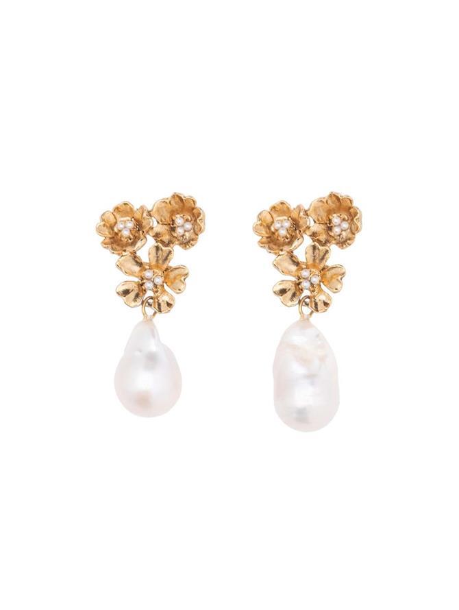 Floral Pearl Pendant Earrings