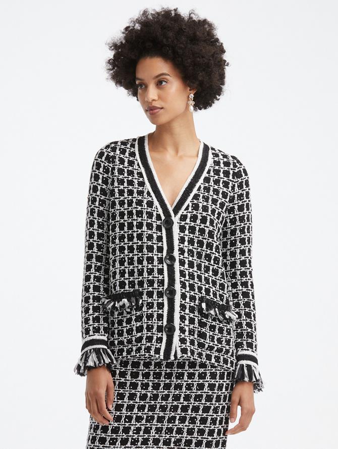 Sequin Grid Tweed Jacket