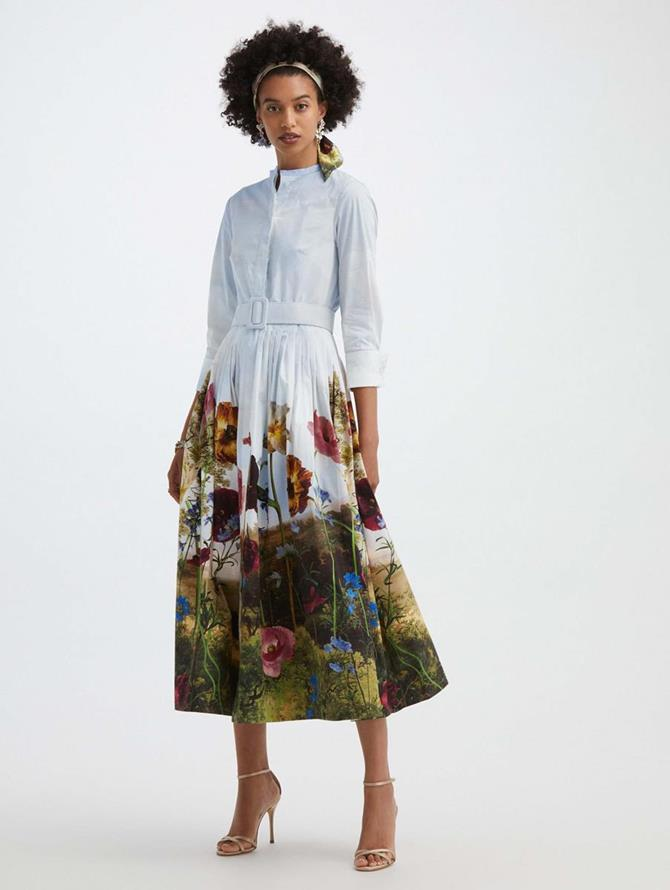 Floral Sky Cotton Poplin Shirtdress