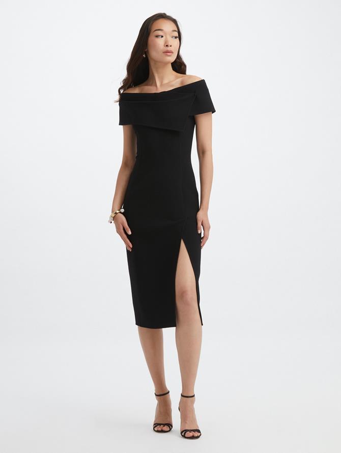 Off Shoulder Slit Cocktail Dress