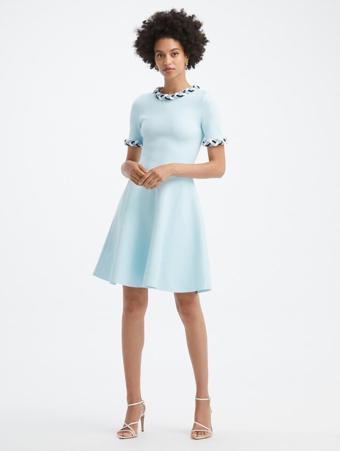 Braided Trim Fit & Flare Dress